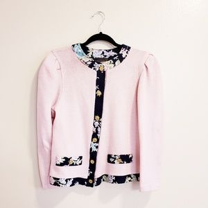 Just in Thyme pink floral sweater cardigan
